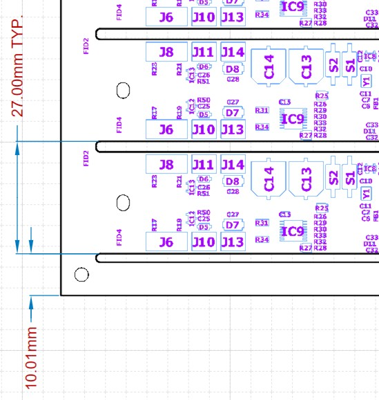 Altium designer draftsman document featuring a PCB with TYP. repeated dimensions.