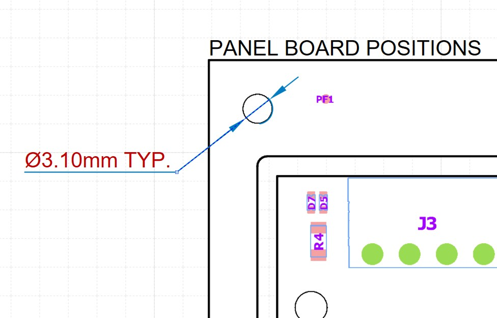 Altium designer draftsman document featuring a PCB with a TYP. repeated diametral dimension on a mounting hole.