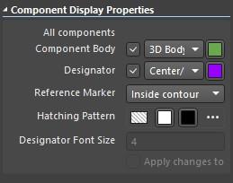 Altium Designer draftsman document component display properties window.