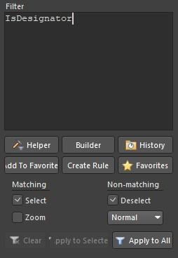 Altium Designer PCB Filters panel.
