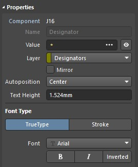 Properties panel showing component J16 designator set to center using true type font.