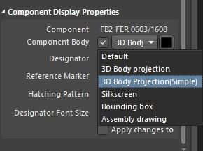 Altium Designer draftsman document component display properties window with component body menu open.