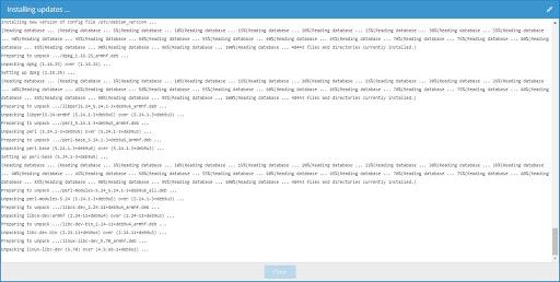 OpenMediaVault installing updates window