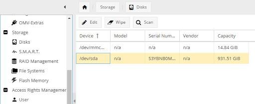 OpenMediaVault storage management interface