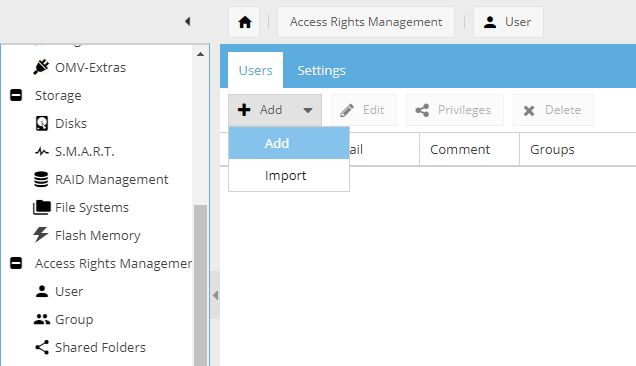 Access right management interface in OpenMediaVault with the Add User button being highlighted