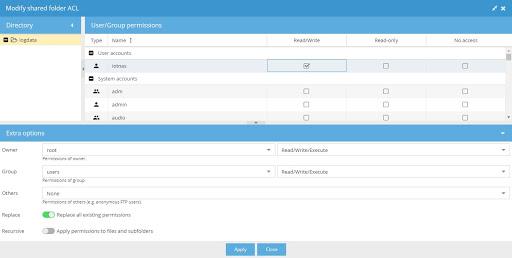 Modify shared folder ACL window in OpenMediaVault