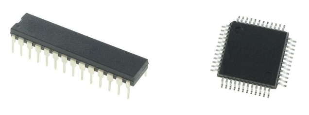 Two common packages for 8-bit vs. 32-bit microcontrollers.