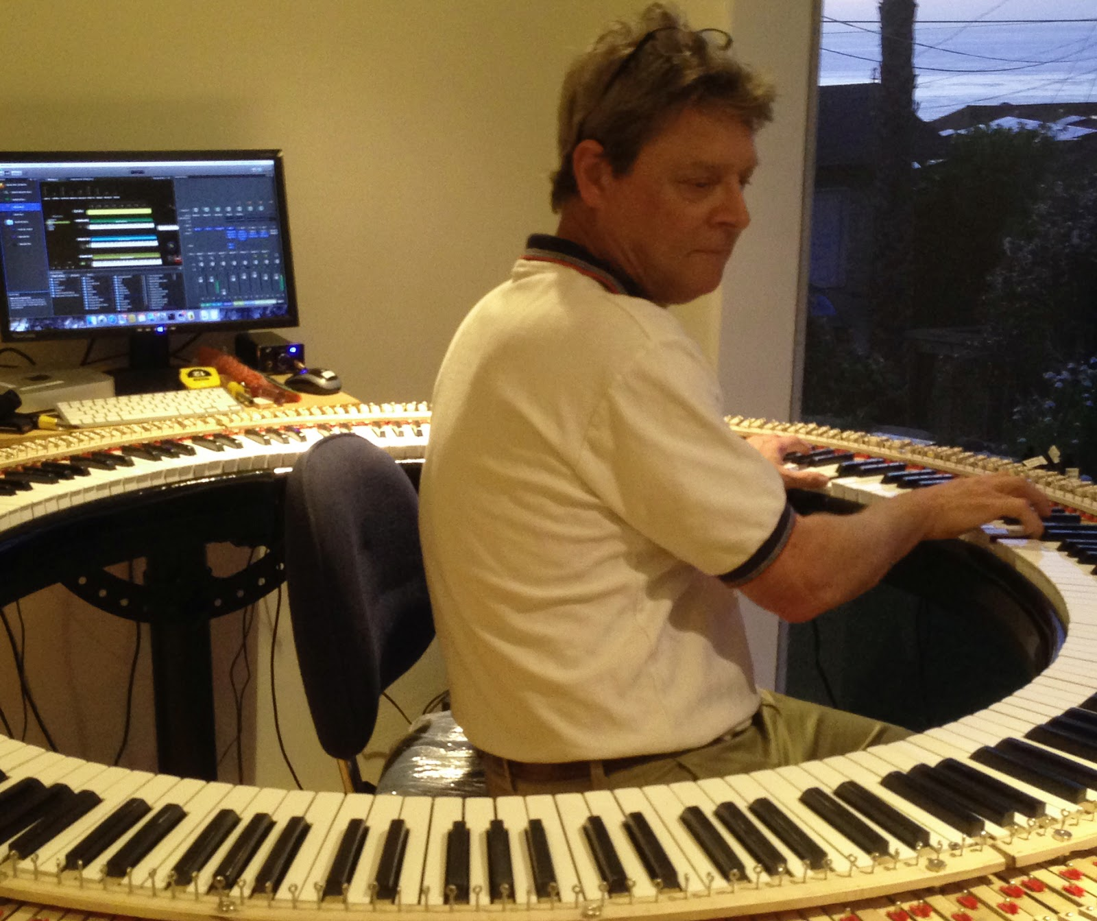 Dave Starkey testing out the Pianoarc