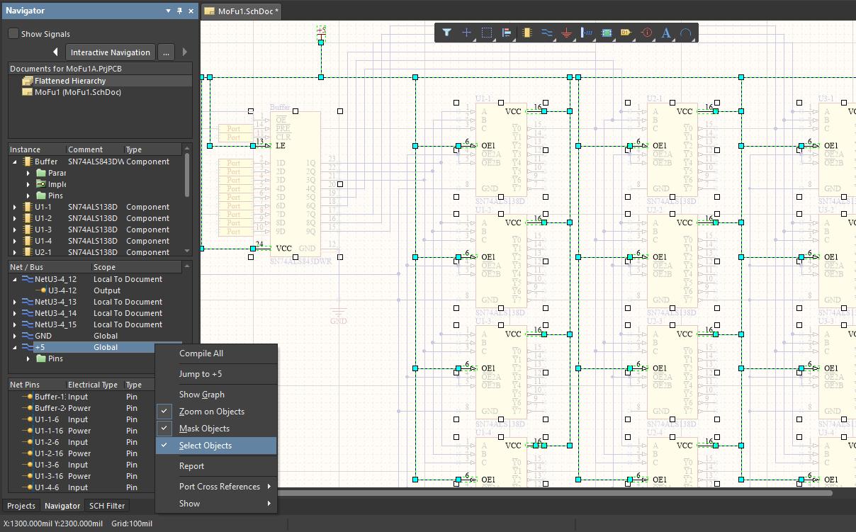 Selecting a net in a schematic in Altium Designer