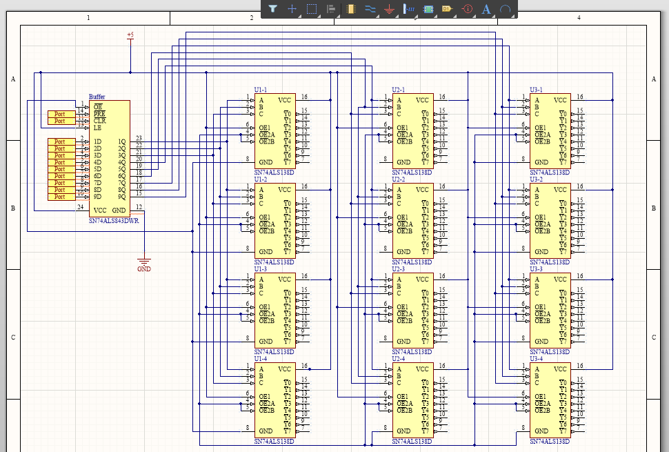Example schematic for net highlighting in Altium Designer