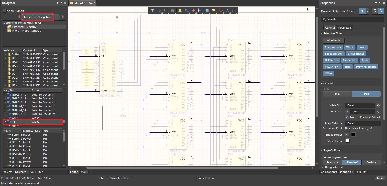 Highlighted net in a schematic in Altium Designer