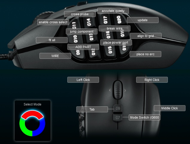 Logitech G600 mouse bindings