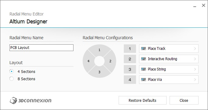 3D Connexion radial menu settings