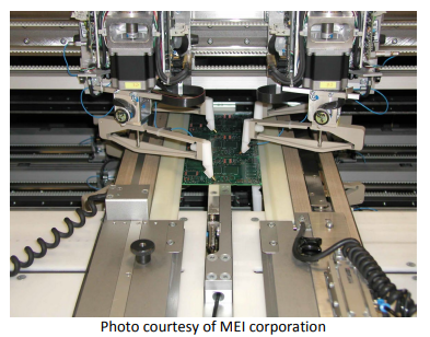 A Flying Probe Bare PCB Tester machine with a PCB inside and multiple stepper motor controlled flying probes measuring connectivity at various test points, photo courtesy of MEI corporation.
