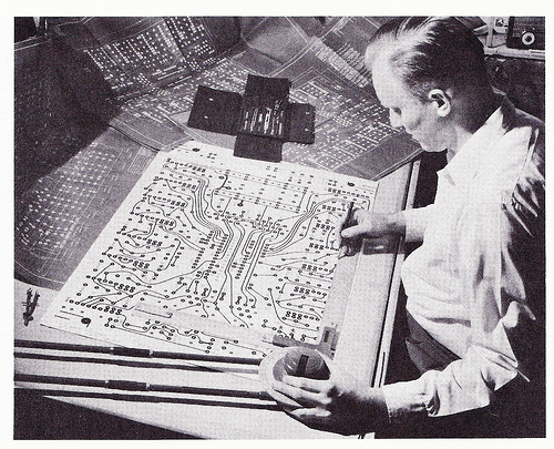 Engineer creating a draft for a circuit board