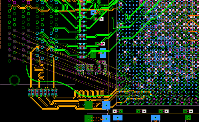 PCB layout between a BGA and a connector