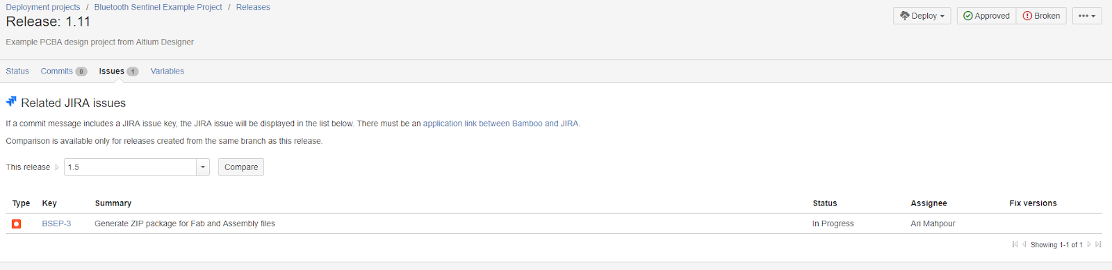 Atlassian Bamboo release screenshot showing linkage of deployment release to specific Jira tickets.