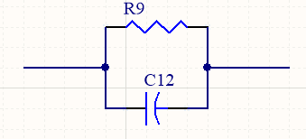 Schematic diagram of a parallel RC filter