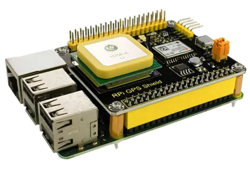 Shield board with GPS receiver on a Raspberry Pi modular single board computer