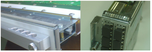 Figure 3. Two photos showing two different views of EMI gasket material on plug-in module faceplates.