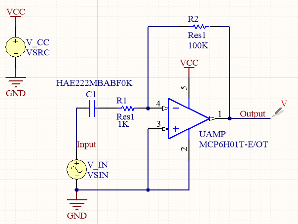 Simple amplifier simulation circuit in Altium Designer