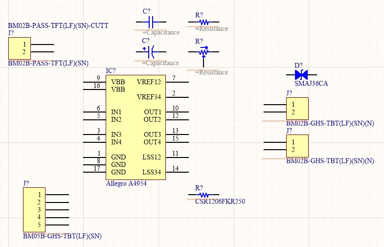Screenshot of the starting schematic with just the components laid out showing the Allegro A4954 IC along with some passives.