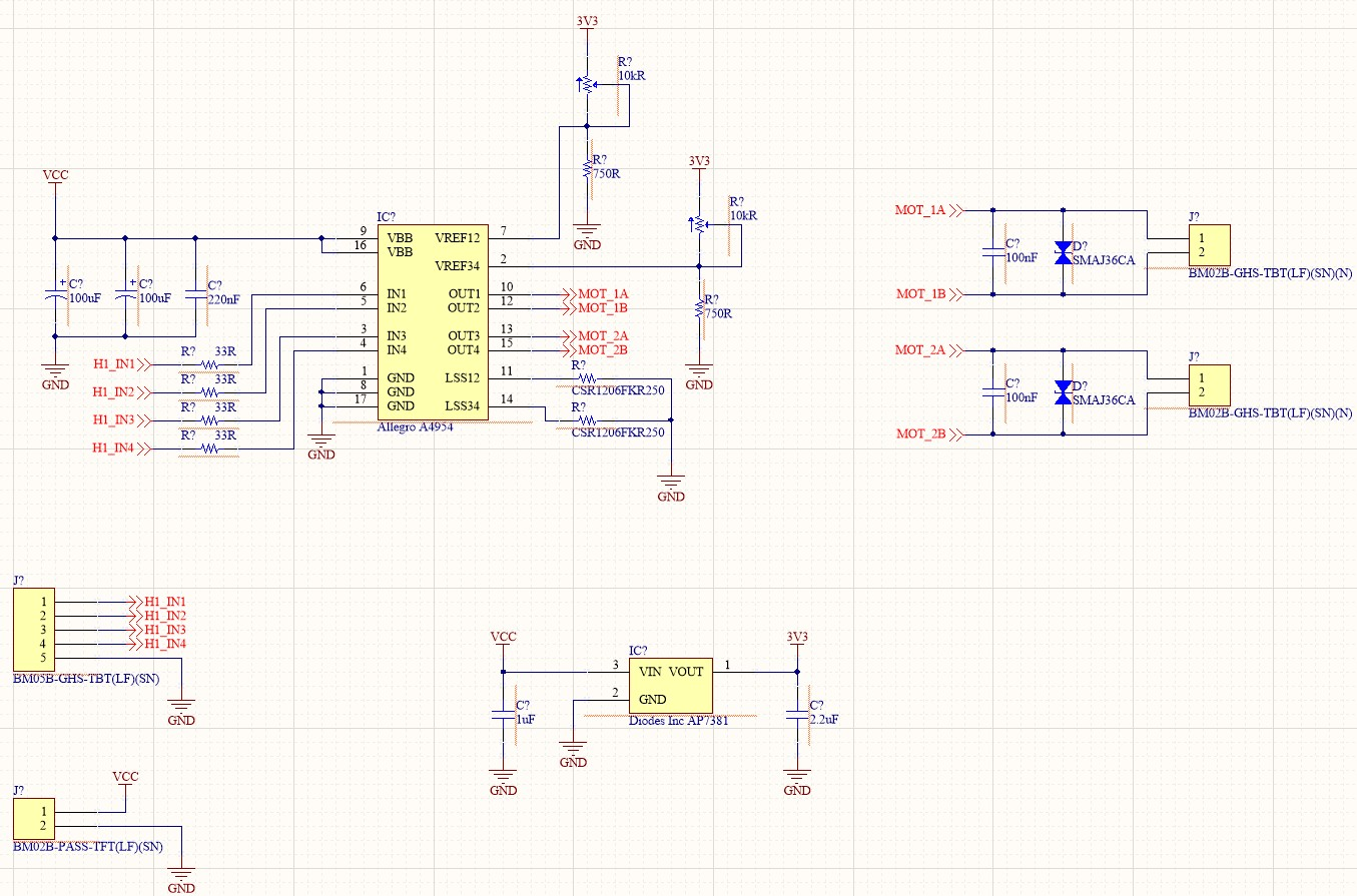 Screenshot of the schematic after it has been connected showing both IC, motor connectors, and passives connected.