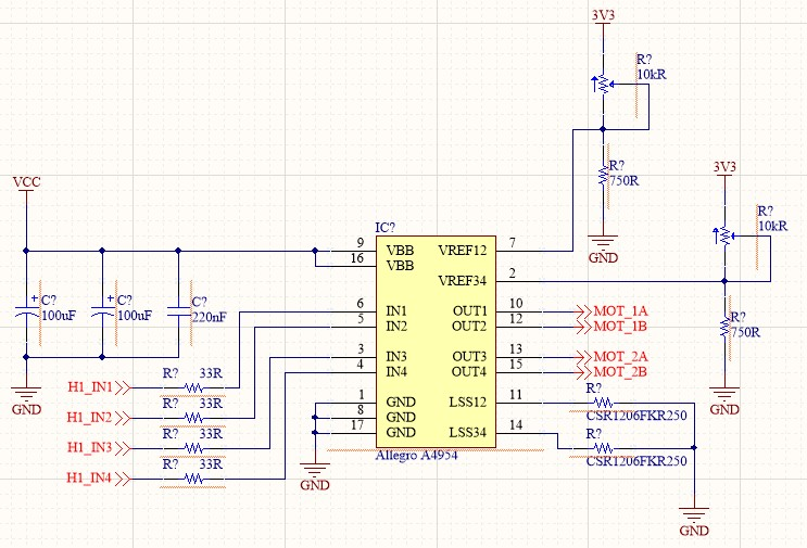 Screenshot of the Allegro A4954 IC and all the passives connected to it before annotation.