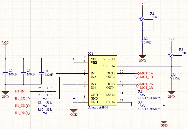 Screenshot of the Allegro A4954 IC and all the passives connected to it after annotation.