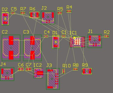 PCB layout of the motor driver showing surface mounted components with no traces joining them.