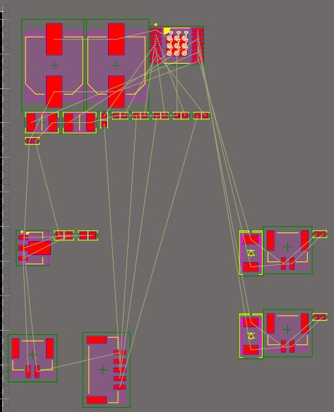 Screenshot of PCB layout of a motor driver in Altium Designer showing various components arranged inside clusters that represent the logical blocks in the schematic.