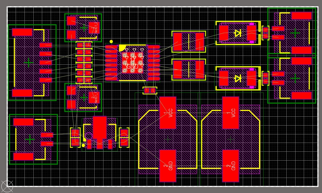 Screenshot of PCB layout of a motor driver in Altium Designer showing various components arranged  to be routable, logically organized, and compact.