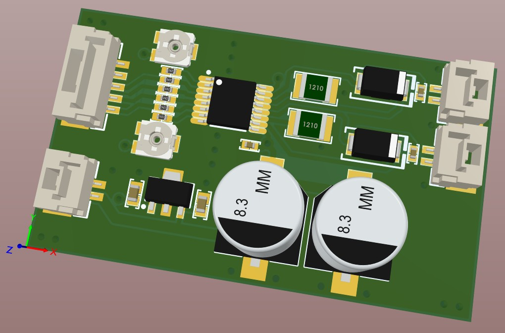 Altium Designer 3D view of the motor driver board before the tracks were added.