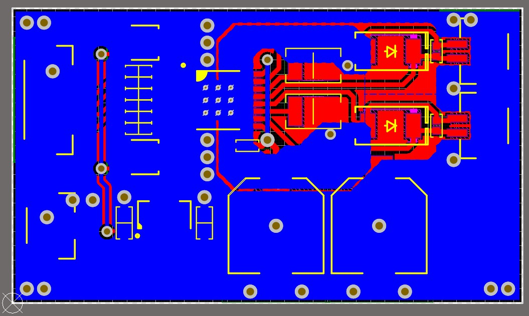 Altium Designer screenshot of the motor driver board after it has been routed, ground pours were added, and polygon cutouts were made, and showing top layer in red and bottom layer in blue.