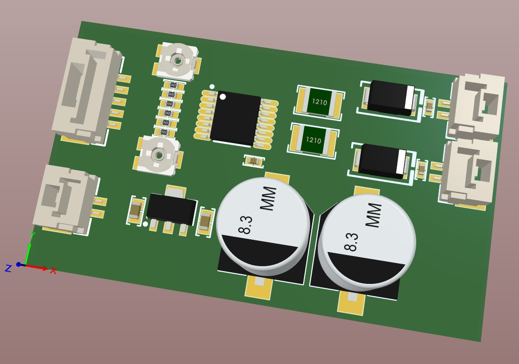 Altium Designer 3D view of the motor driver board after the tracks were added.