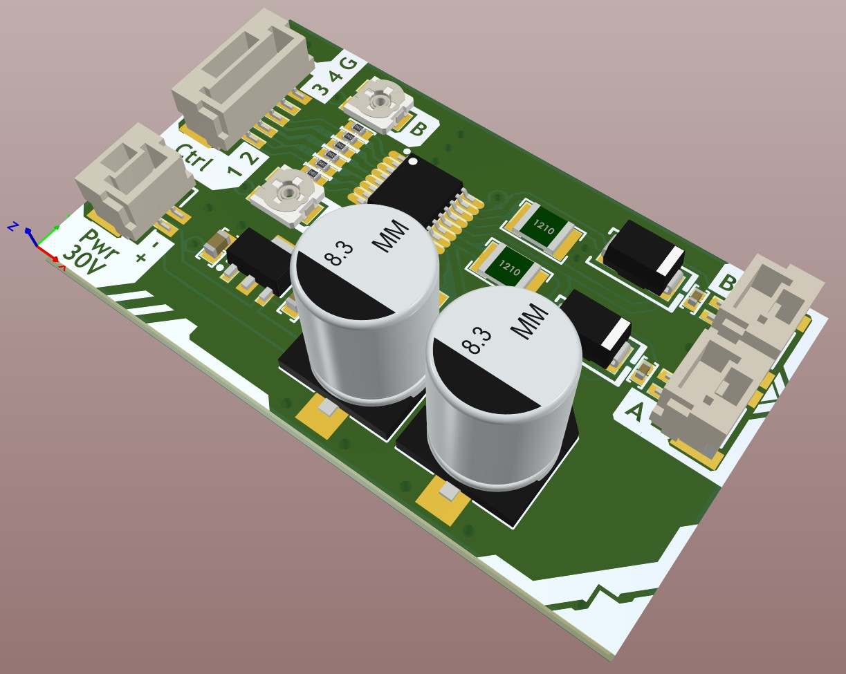 Altium Designer 3D view of the motor driver board after the tracks were added and the top overlay silk was printed.