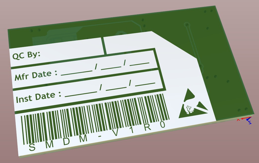Altium Designer 3D view of the bottom motor driver board  featuring the bottom overlay silk showing various dates and a barcode.