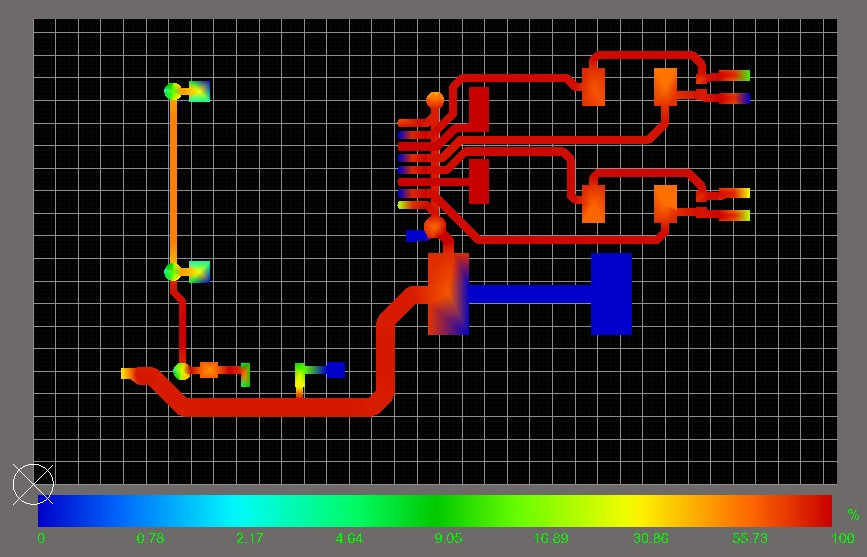 PDN Analyzer screenshot of a motor driver circuit with many traces appearing black instead of red because their current density exceeds the maximum specified current density in manual color configuration.