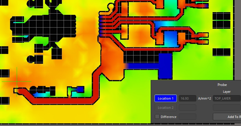 Altium PDN Analyzer screenshot of the hottest region of the top side copper polygon.