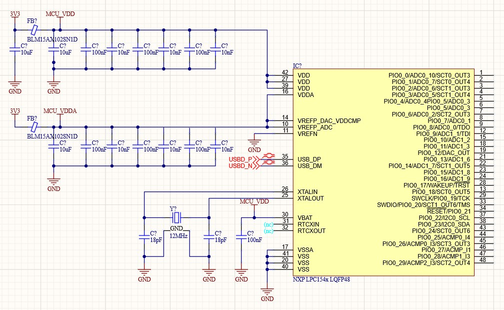 Schematic showing the NXP LPC1549 microcontroller with power and xtal - crystal oscillator - pins connected on the left side