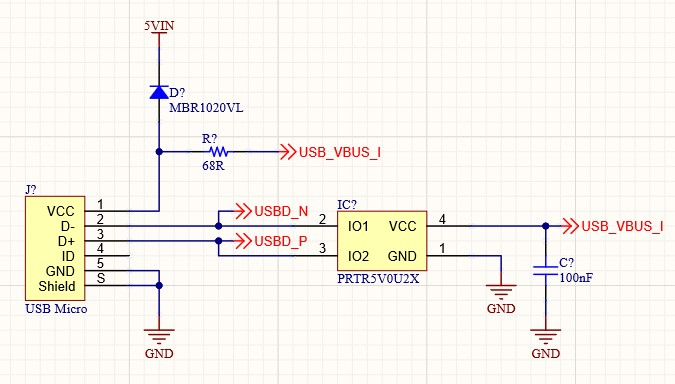 Schematic showing a USB Micro socket connected to a PRTR5V0U2X ultra low capacitance double rail-to-rail ESD protection diode