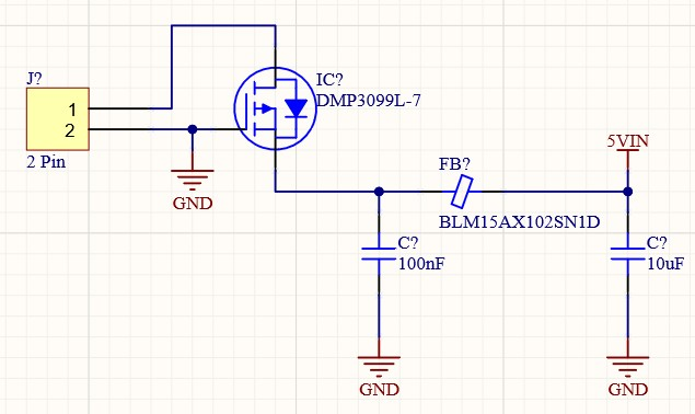 Schematic showing reverse polarity protection using the DMP3099L-7 P-Channel MOSFET