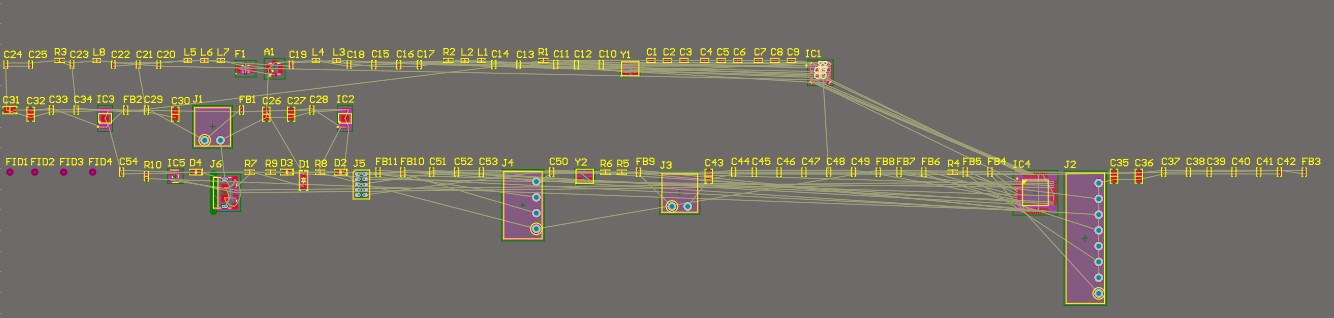 Altium Designer 20 screenshot showing PCB layout with a few dozen components placed off board