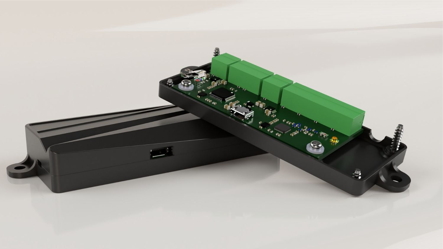 3D render of the finished board within its newly designed enclosure