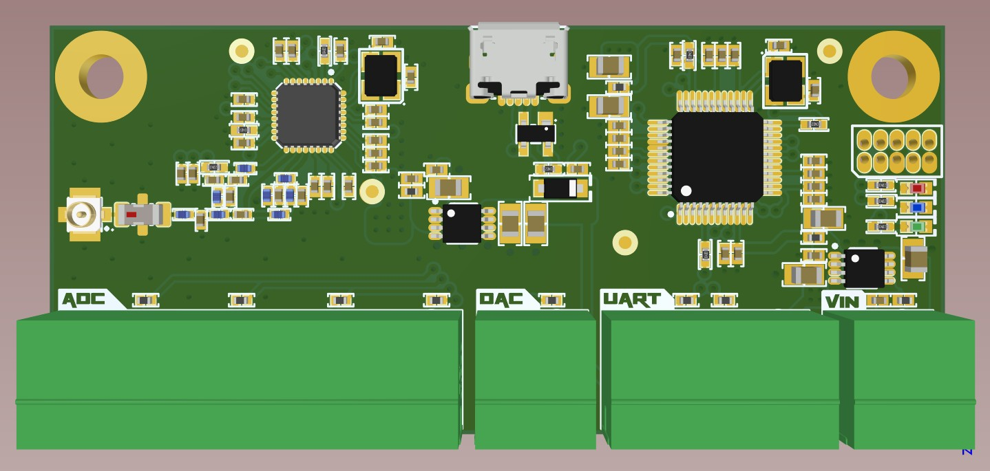 3D top view of the electrically complete board with top silkscreen in Altium Designer 20