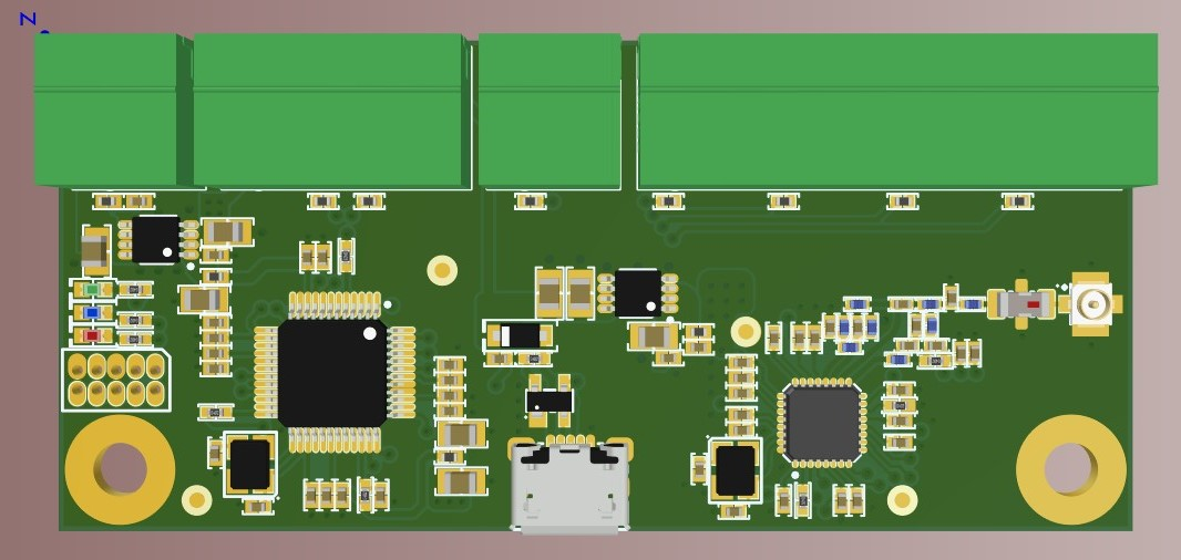 3D top view of the electrically complete bare-looking board in Altium Designer 20