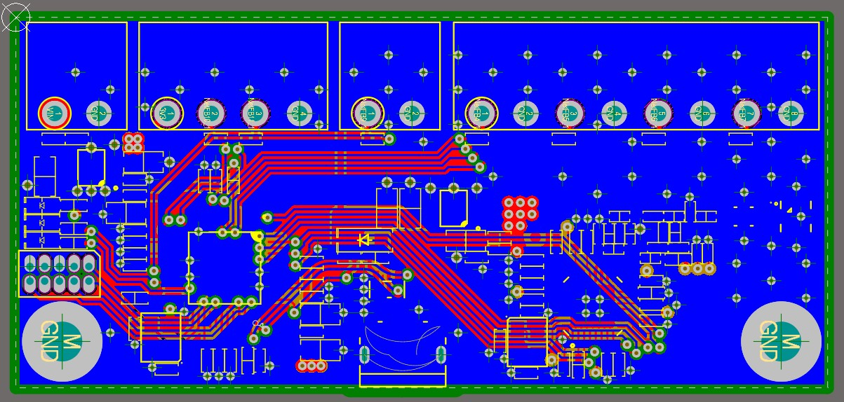 Altium Designer 20 screenshot showing the bottom copper layer of the board shown in blue