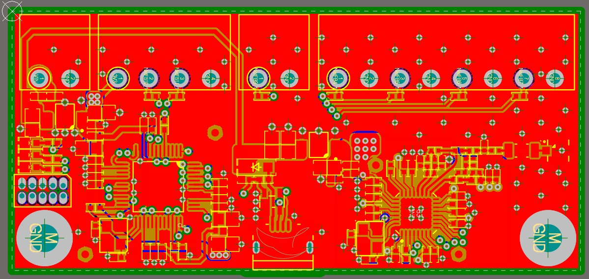 Altium Designer 20 screenshot showing the top copper layer of the board shown in red