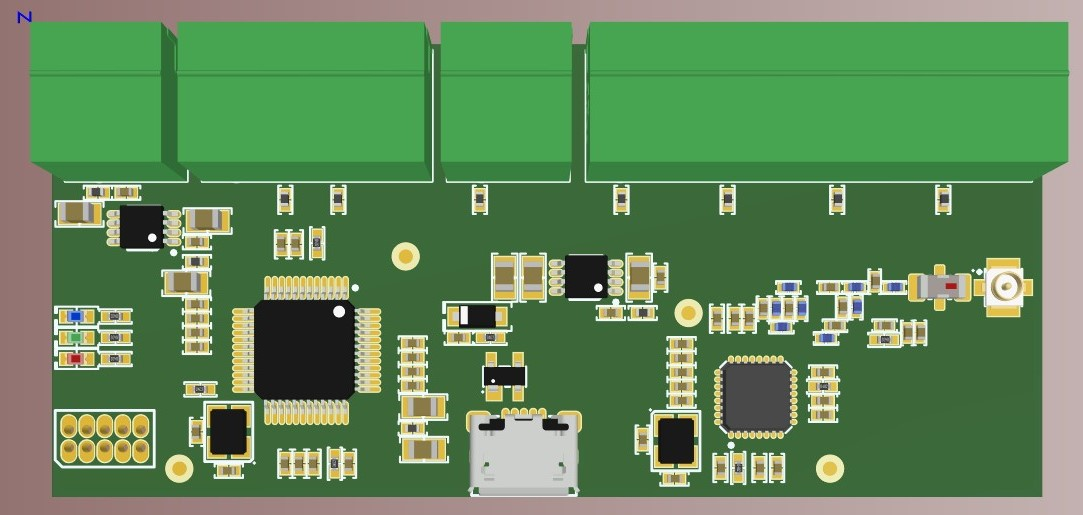 3D top view of the board in Altium Designer 20
