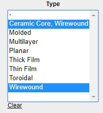 List input showing selections related to Wirewound in a digikey search